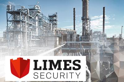 Limes Security Logo auf Industrie-Hintergrund