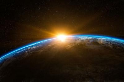 Ansicht Horizont, Sonnenaufgang auf der Erde