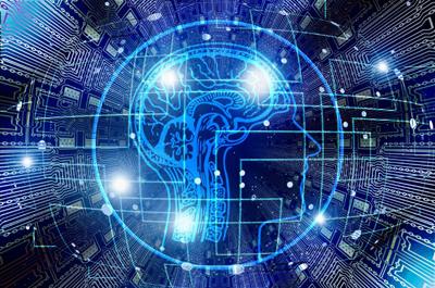 abstraktes Bild in Blau, Gehirn, Kopf, Netzwerk-Linien