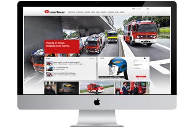 Computerbildschirm mit abgebildeter Rosenbauer Website, Mock-up