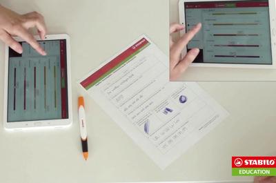 zu sehen sind 2 Tablets, 1 Zettel und der Stabilo Ergo Pen