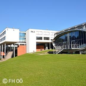 Abbildung der FH Gebäude 1 und 2 im Softwarepark Hagenberg.