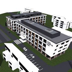 Vogelperspektive Bürogebäude BC1 - zweiter Bauabschnitt